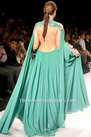 Sonam Kapoorセクシーなグリーンバックレス刺繍のイブニングドレスウエディングドレス