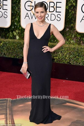 Sophia Bush Black Evening Dress 2016 Golden Globe Awards Red Carpet Celebrity Gowns