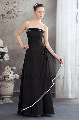 Spaghetti Straps Black A-Line Bridesmaid Prom Dresses