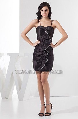 Discount Spaghetti Straps Ruffles Short Party Little Black Dresses