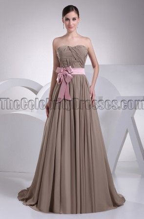 Discount Strapless Brown Bridesmaid Prom Dresses
