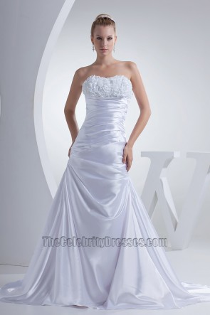 Strapless A-Line Chapel Train Silk Like Satin Wedding Dress