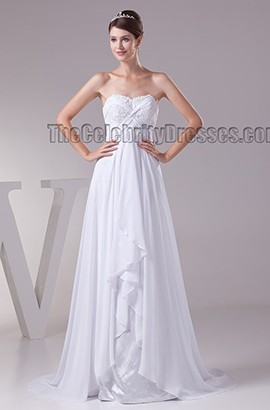 Strapless A-Line Chiffon Beaded Lace Up Wedding Dresses