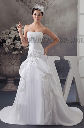 Strapless A-Line Embroidered Sweep Brush Train Wedding Dresses