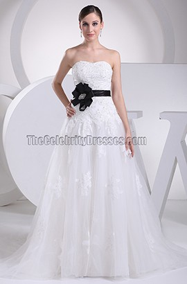 Strapless A-Line Embroidery Wedding Dress With Black Belt