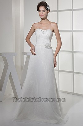 Strapless A-Line Floor Length Organza Wedding Dresses