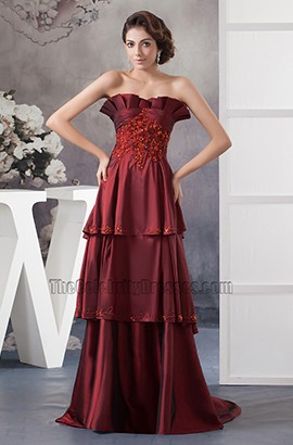 Discount Strapless Formal Gown Prom Evening Dresses