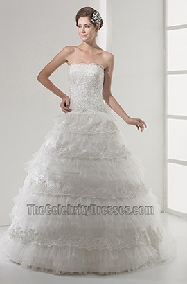 Stunning Strapless Embroidery A-Line Organza Wedding Dress