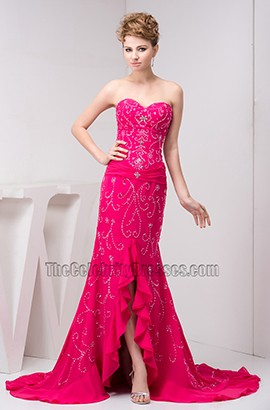 Fuchsia Strapless Formal Gown Evening Prom Dress With Beadwork
