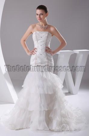 Beaded Strapless Mermaid Wedding Dress Bridal Gown