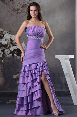 Strapless Purple Mermaid Ruffles Formal Dress Prom Gown