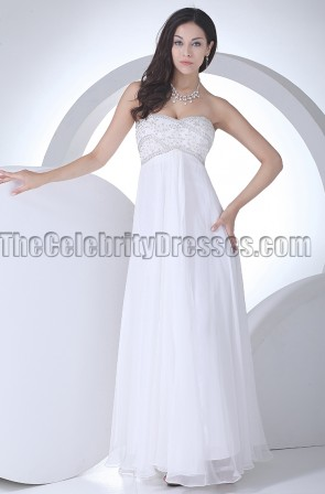 Strapless Sweetheart A-Line Beaded Wedding Dress Prom Gown