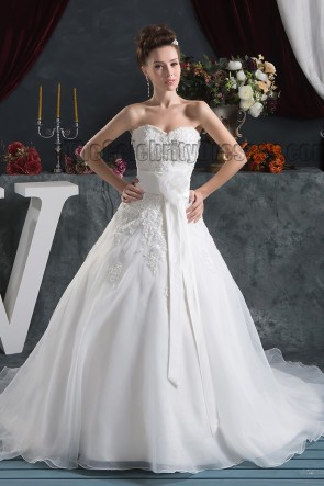 Strapless Sweetheart A-Line Embroidered Chapel Train Wedding Dresses
