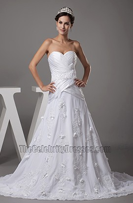 Gorgeous Strapless Sweetheart A-Line Lace Up Back Wedding Dress