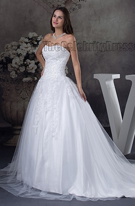 Strapless Tulle Embroidered Strapless Chapel Train Wedding Dress
