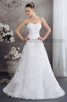 Sweep/Brush Train Sweetheart Strapless A-Line Wedding Dress