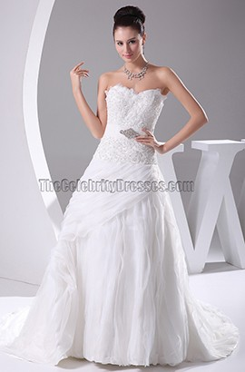 Sweetheart Strapless A-Line Chapel Train Wedding Dresses