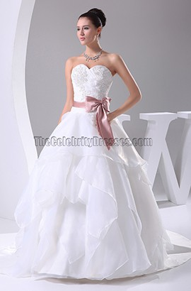 Sweetheart Strapless A-Line Organza Wedding Dresses