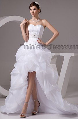 Sweetheart Strapless Beaded High Low Organza Wedding Dresses