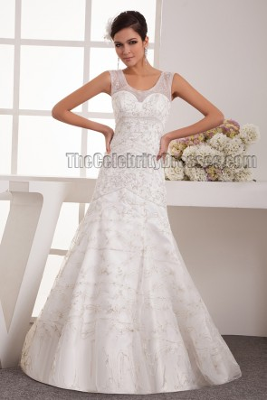 Trumpet /Mermaid Beaded Embroidered Sweep Brush Train Wedding Dress