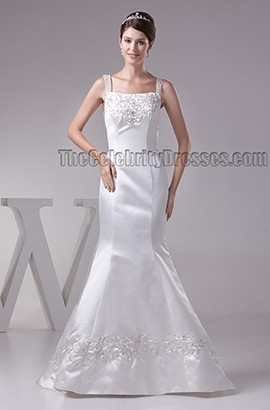 Trumpet/Mermaid Embroidered Backless Sweep Brush Train Wedding Dress