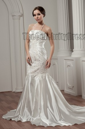 Trumpet /Mermaid Halter Embroidered Chapel Train Wedding Dress