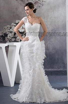 Trumpet/Mermaid One Shoulder Lace Sweep/Brush Train Wedding Dress