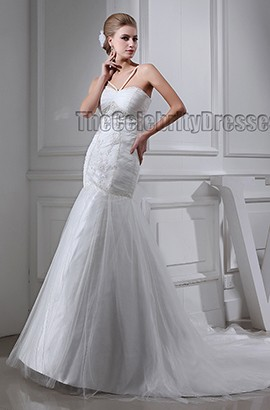 Trumpet /Mermaid Spaghetti Straps Chapel Train Wedding Dresses