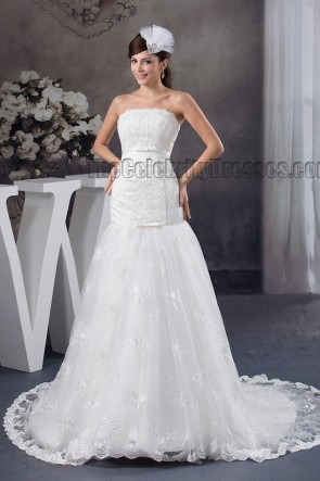 Trumpet /Mermaid Strapless Beaded Chapel Train Wedding Dress