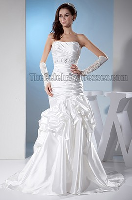 Trumpet/Mermaid Strapless Beaded Sweep/Brush Train Wedding Dress