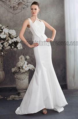 Chic Trumpet/Mermaid Sweep/Brush Train Beaded Wedding Dresses