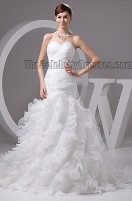 Trumpet/Mermaid Sweetheart Strapless Organza Lace Up Wedding Dress