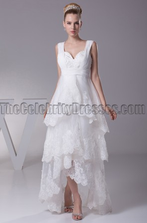 Floor Length V-Neck A-Line High Low Wedding Dresses