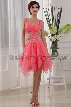 Water Melon Cut Out Cocktail Party Dresses With Beading
