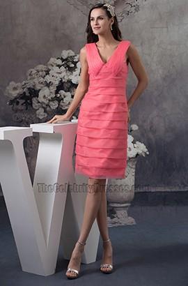 Watermelon Short V-Neck Cocktail Party Graduation Dresses