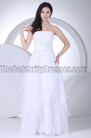 New Style White A-Line Strapless Wedding Dresses