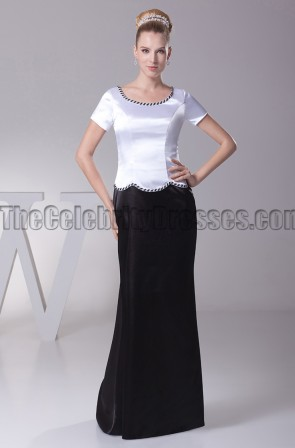 White And Black Formal Dress Prom Evening Gown