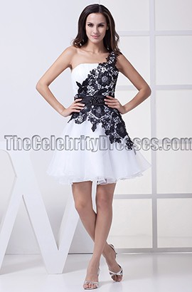 White And Black One Shoulder Party Graduation Dresses