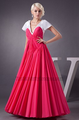 Floor Length White And Fuchsia A-Line Prom Gown Formal Dresses