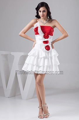 White And Red Short Strapless Party Homecoming Dresses