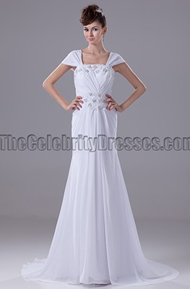 White Cap Sleeve Chiffon Prom Gown Evening Dresses