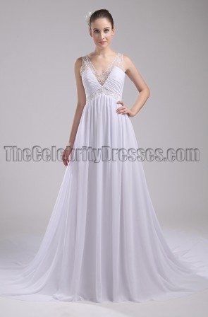 White Chiffon Beaded Formal Evening Dress Prom Gown