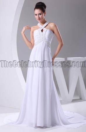White Halter Beaded Formal Gown Prom Dresses