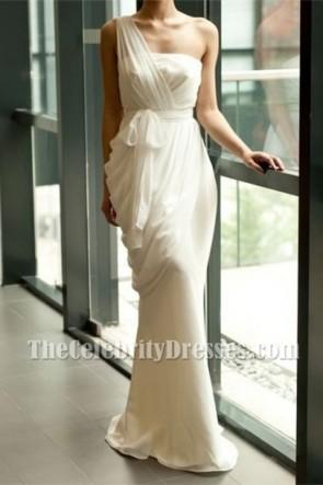 シース/列アイボリーシフォンワンショルダーイブニングフォーマルウェディングドレス