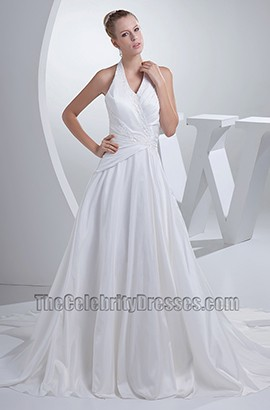 Discount White Halter A-Line Chapel Train Wedding Dress
