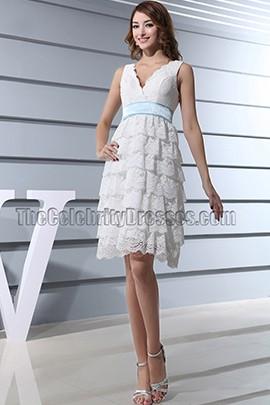 Lace V-neck Bridesmaid Cocktail Party Graduation Dresses