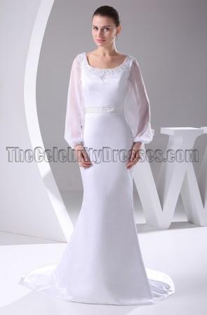 White Long Sleeve Scoop Neckline Wedding Dresses