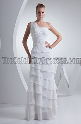 White One Shoulder Floor Length Formal Prom Dresses