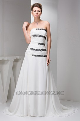 White Strapless A-Line Beaded Chiffon Formal Dress Prom Gown