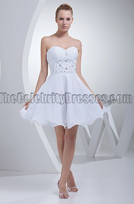 White Strapless A-Line Cocktail Short Wedding Dress